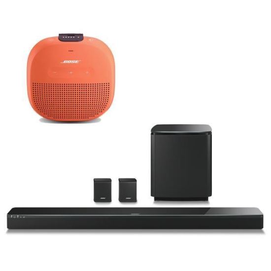 Pachet Soundbar SoundTouch 300 bas Acoustimass 300 boxe Virtually Invisible 300 CADOU SoundLink Micro Orange